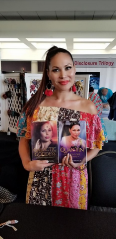Founder Radhaa Nilia with her first two books, Galactic Goddess: Ascending Beyond Duality and Quan Yin Goddess Activations Healing Workbook