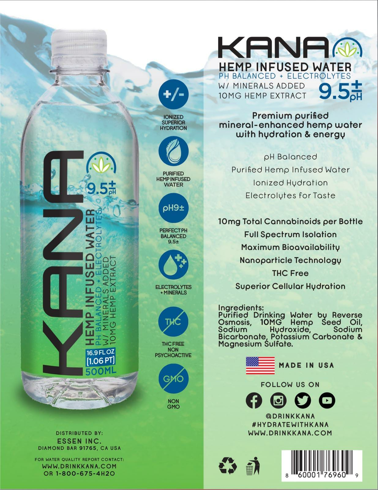 Drink Kana announces the launch of Kana Hemp water on Amazon