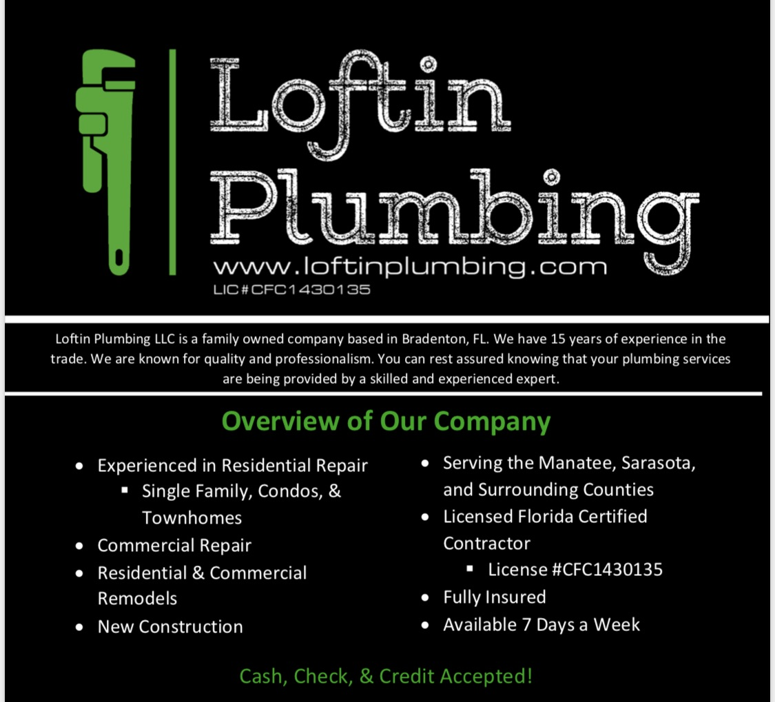Loftin Plumbing Bringing 15 Years of Experience to Provide Quality Service to Floridians