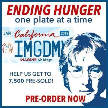 Iconic Legacy and Michael Towner Announce Free sign Up for the California Imagine No Hunger license plate to Celebrate Hunger Action Month and John Lennon's 79th Birthday.