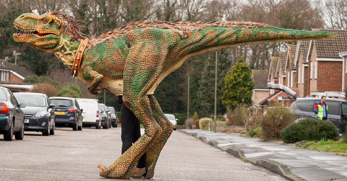 Want to Interact with the Walking Dinosaur Costumes?