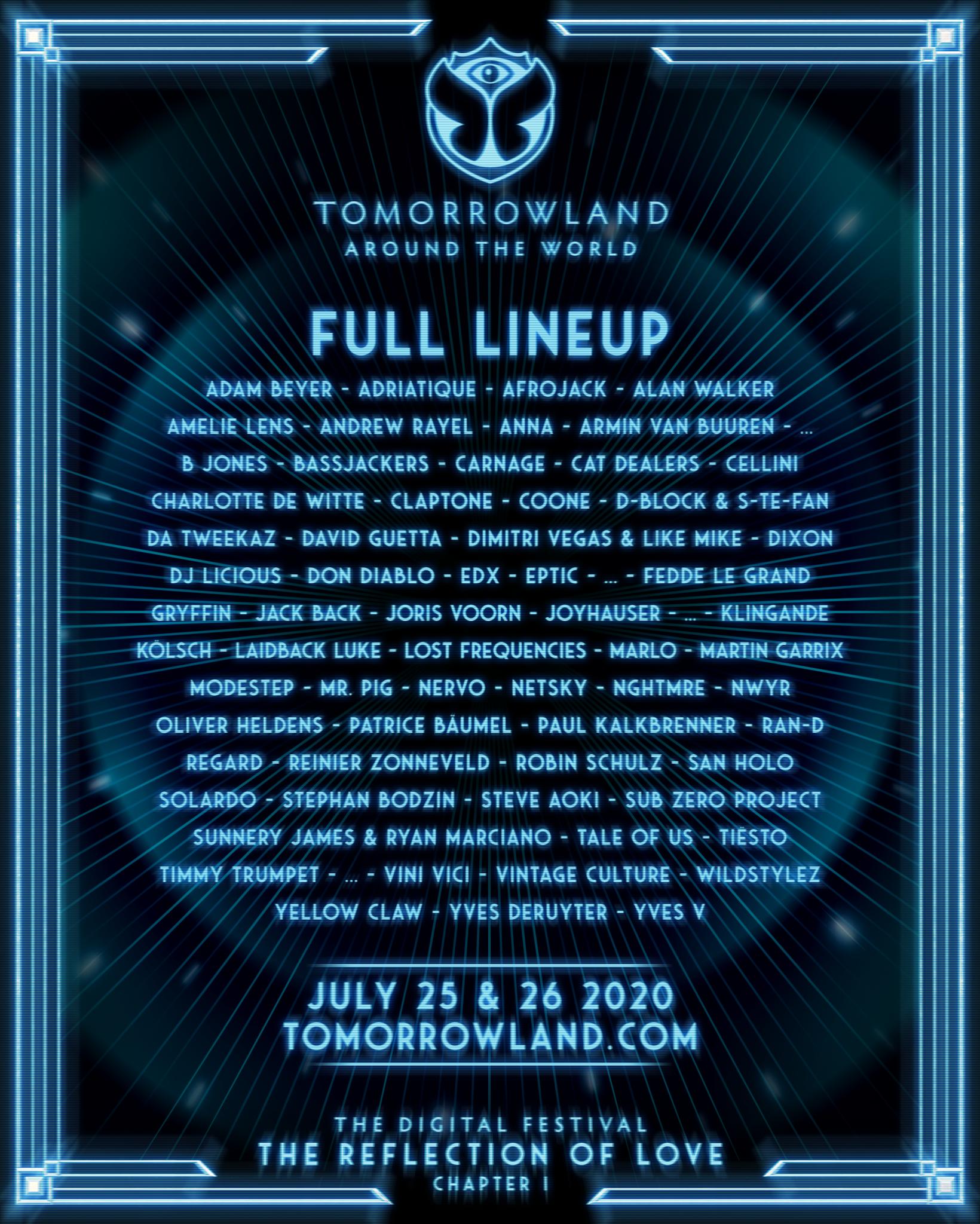 Tomorrowland Around the World, the digital festival, unveils star-studded line-up with Adam Beyer, Amelie Lens, Armin van Buuren, Charlotte de Witte, David Guetta, Dimitri Vegas & Like Mike, Kolsch, etc.
