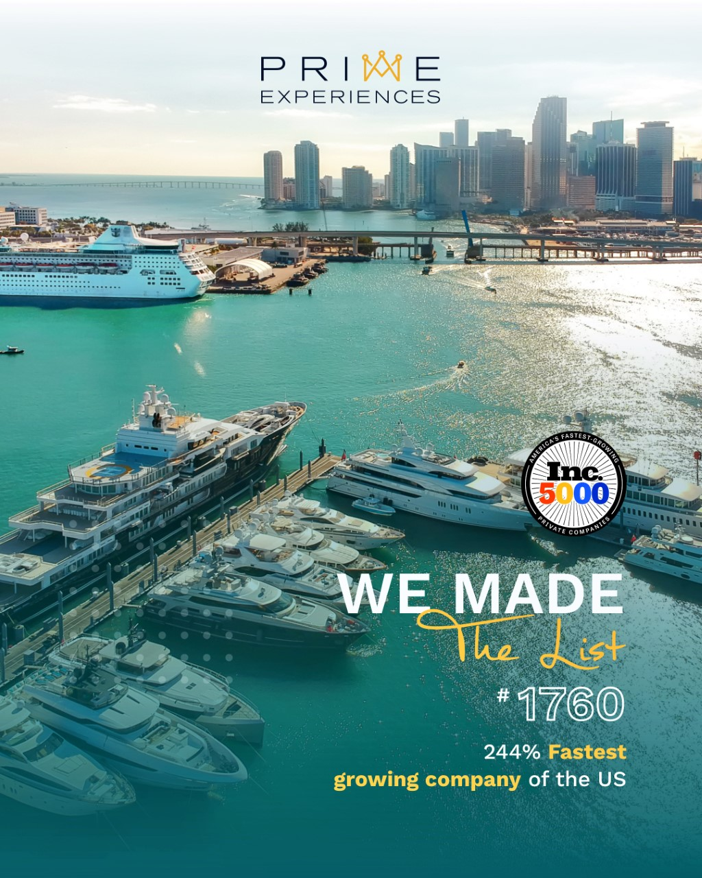 Prime Experiences Ranks No. 1760 On The 2020 Inc. 5000 With Three-Year Revenue Growth Of 244% Percent