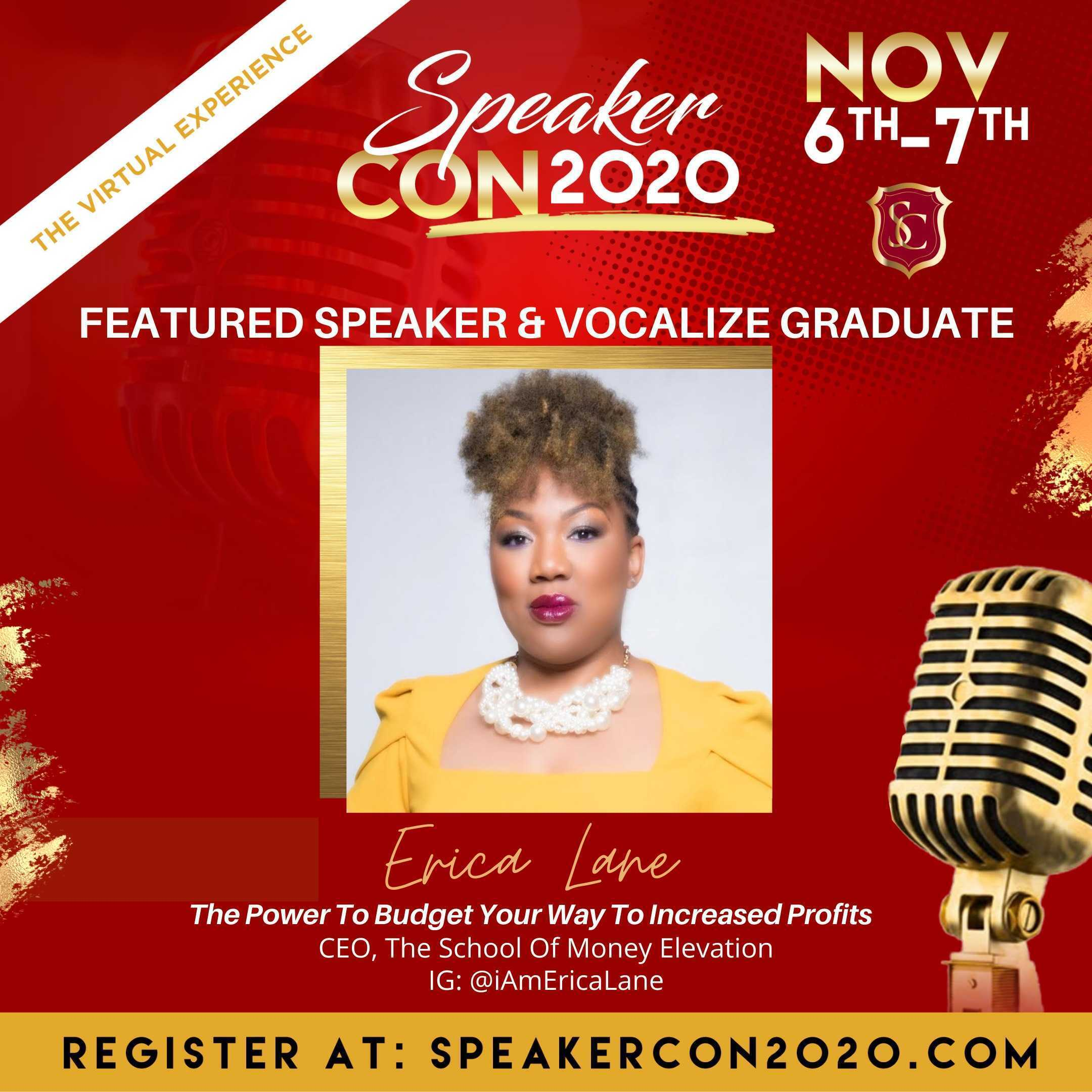 """Join Erica Lane As She Partners with Speakercon To Speak On """"The Power To Budget Your Way To Increased Profit"""""""