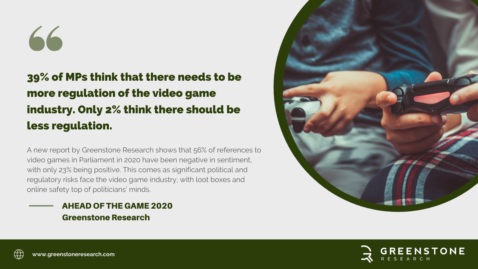 Greenstone Research Finds That One Third Of Mps Want Increased Regulation For Video Game Businesses