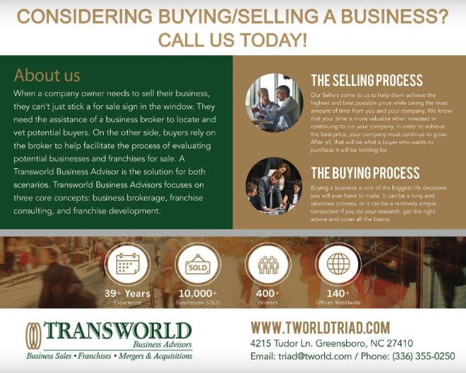 Transworld Business Advisors Greensboro Launches Selling My Business Greensboro