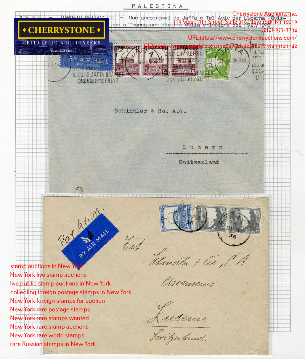 Cherrystone Auctions, Inc. Holds Live Public Philatelic Auction In New York, NY