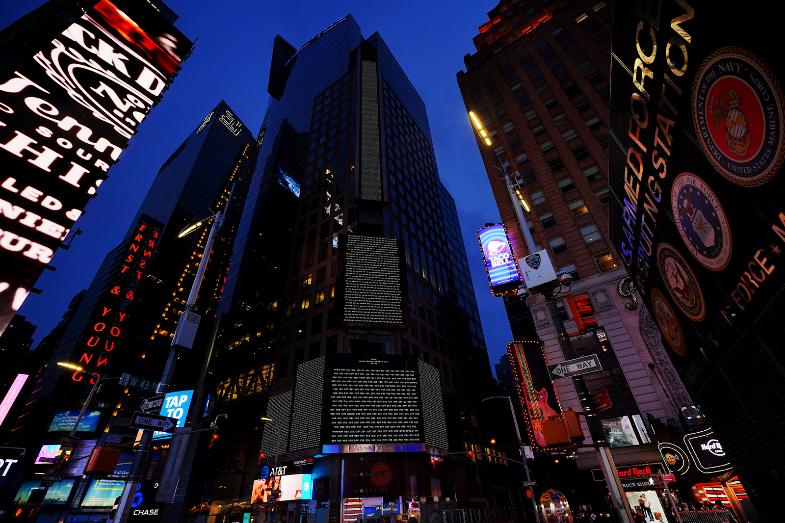 The Names of Many Koreans lit up New York Times Square