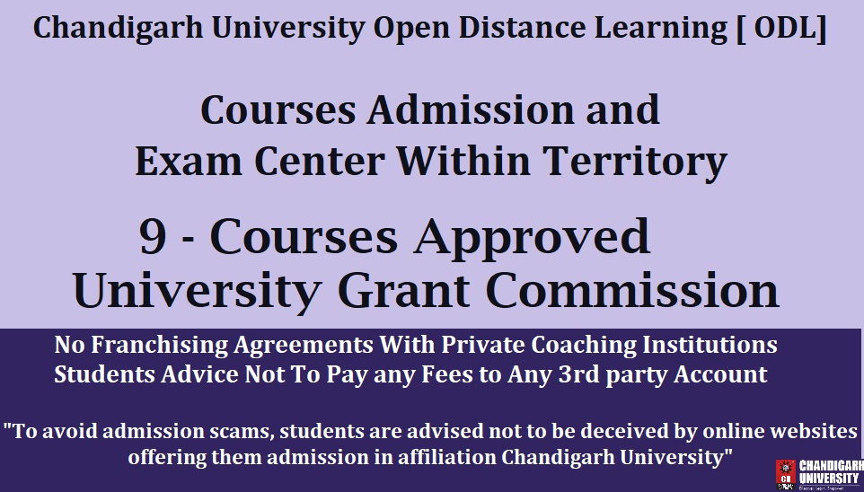 Chandigarh University Distance Learning [ODL] Announcement Online Courses Admissions And Exams Not Outside Chandigarh UGC Updated Guideline