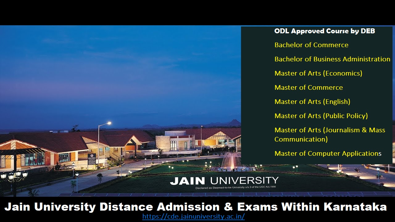 Jain University Online Distance Education Announced Does Not Offer Franchise Or Any Study Center, University Admissions And Exams Within Karnataka